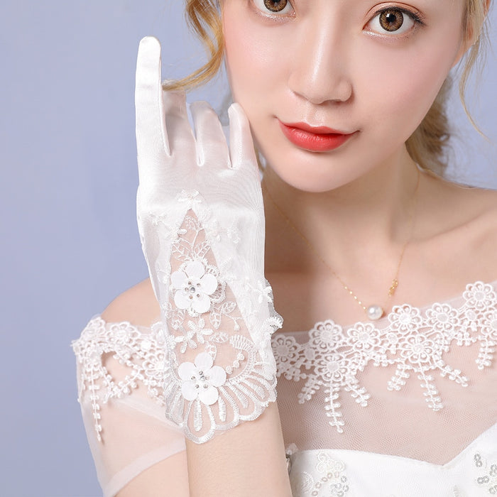 Satin Silk Lace Gloves Women Full Finger Cream White Party Short Lace Trim