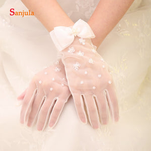 Sequins Beaded Tulle Gloves Bridal Wedding Accessories Wrist Length Full