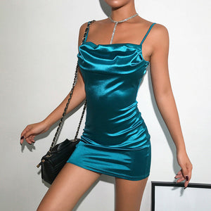 Sexy Bodycon Bandage Short Dress Women Spaghetti Strap Blue Casual Party Slash Neck Satin Silk Feel Mini Pencil Vestido 2019 New