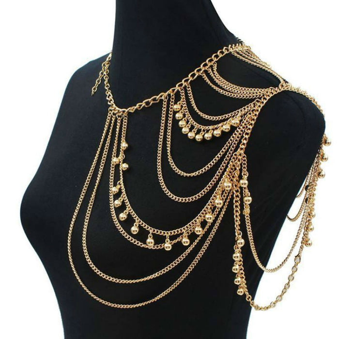 Sexy Chain Necklace Women Fashion Punk MultiLayered Water Drops Tassels Shoulder Chain Body Jewelry