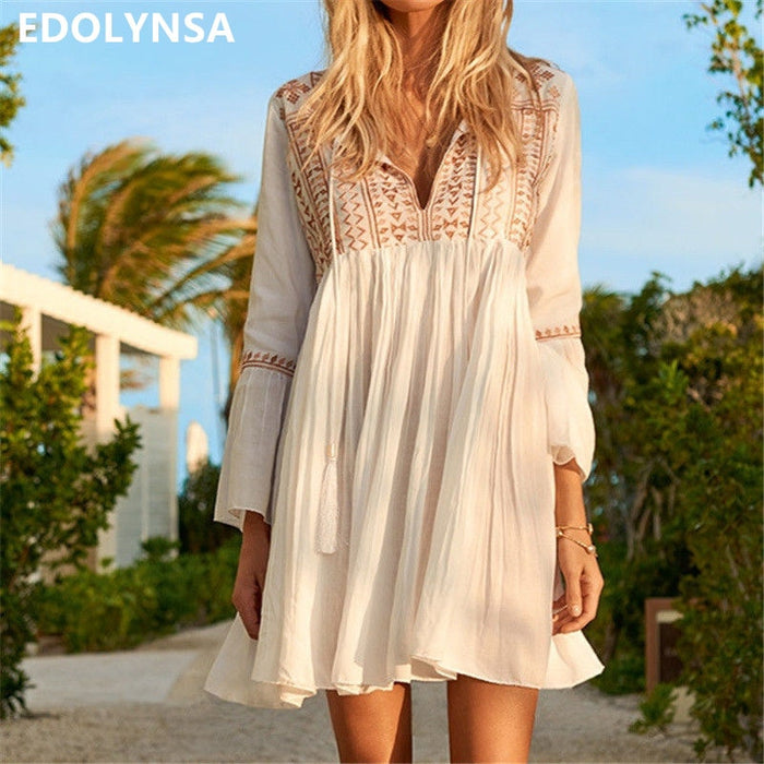 Sexy Deep V Neck Self Tie Patchwork Long Sleeve Boho Midi Dress White Cotton Ruffle