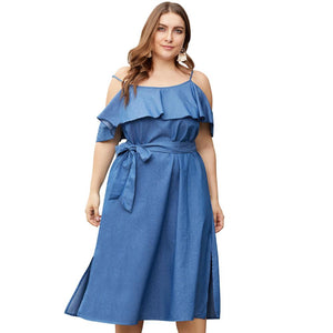 Sexy Sling Denim Mid Dress Women 2019 Summer Backless Lacing Bowtie Dresses Femme Elegant Office Lady Midi Long Dress