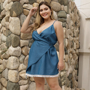 Sexy Sling Summer Denim Short Dress Women 2019 New Casual Clothes Femme Lacing Sleeveless Backless Hollow Mini Dresses Big Size