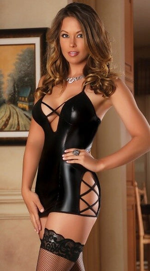 Sexy Women Faux Leather Wet-Look Hollow-Out Bodycon Dress Lingerie