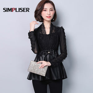 Sexy Women Lace Shirts Leather Patch Female Blouses Black Tops