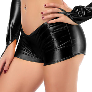 Sexy Women Metallic Shiny Boxer Shorts Hot Pants Wet Look  Leather Trousers Dance