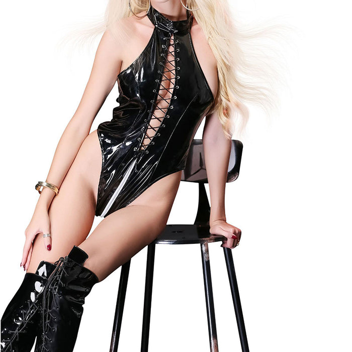 Sexy Women Leather Lingerie Bodysuits Erotic Leotard Costumes Rubber
