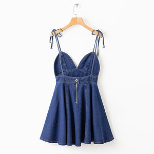 SheMujerSky Summer Beach Dress 2019 Denim Spaghetti Strap Mini Dress Women robe femme V-neck Dresses