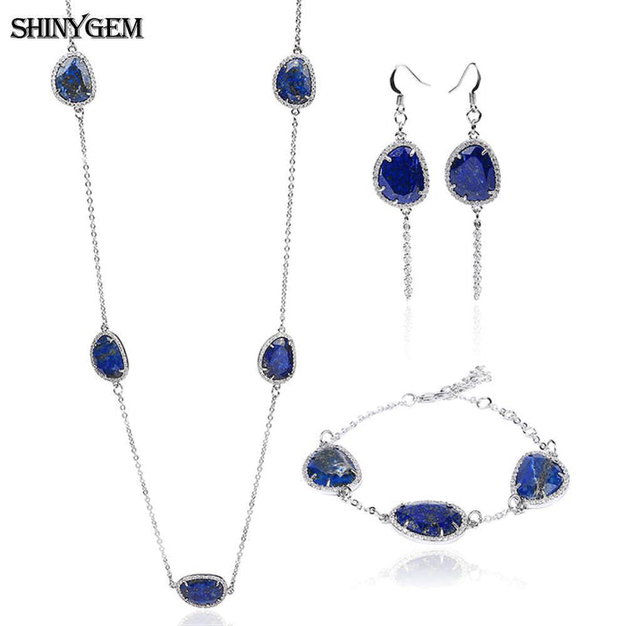 ShinyGem Fashion Lapis Lazuli Jewelry Sets Luxury Natural AAA+ Lapis Lazuli Silver Chain 3 Pieces Bridal Jewelry Sets For Women