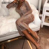 Sibybo Knitted Hollow Out Sexy Long Dress Party Deep V-Neck Long Sleeve Backless Dresses for Women Casual Sweater Dress Vestidos