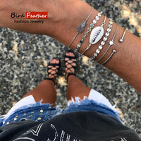 Silver color Bohemian Handmade Weave pineapple stone Bracelet Sets Women 2019 New Rope Chain Bracelets Retro Jewelry Accessories