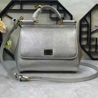 Silver new mini-bag, simple palm print, leather, one-shoulder slanting handbag, classic lady bag