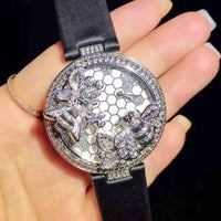 Luxury Top Brand Handmade Leather Strap Zircon Stone Double 2020