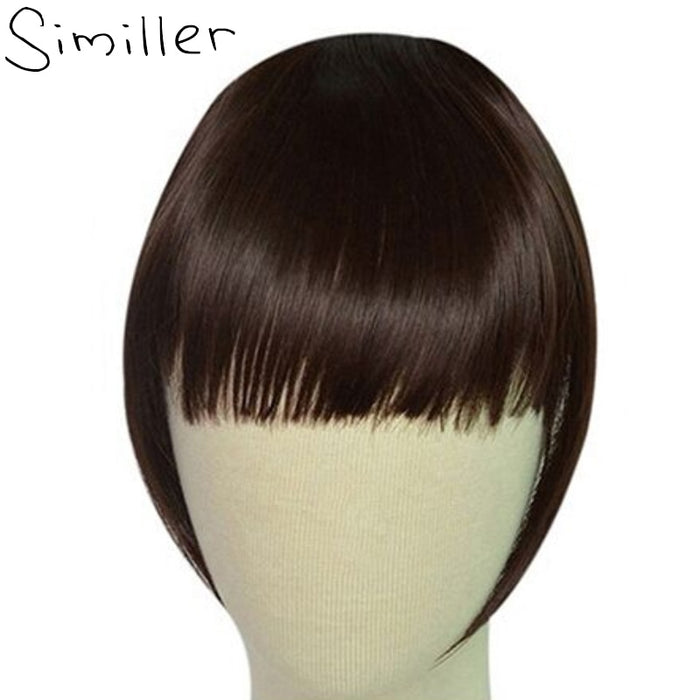Similler Black Short Front Blunt Bangs Clip in Bang Fringe Hair Extensions Straight Synthetic Hairpiece 34 Colors