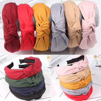 Simple Cloth Headband Cross Cotton Soft 1PC Bow Knot Turban Hairband Comfortable Seaside Girls Sweet 8 Colors Gifts Solid