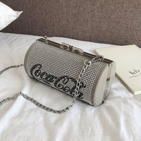 Simple Stylish Cylinder package elegant ladies evening bags Quality PU leather Women bag Diamond Chain Shoulder Messenger bags