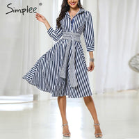Simplee Casual striped women office dress Elegant quarter sleeve bow tied midi dress Autumn ladies work wear A-line shirts dress