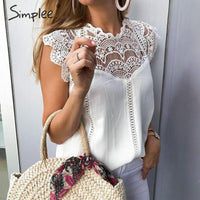 Simplee Elegant embroidery white lace tops Women sleeveless chiffon cami tops