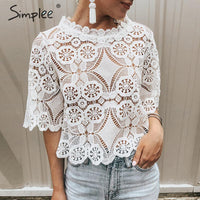 Simplee Elegant lace mesh embroidery women blouse shirt Sexy hollow out ruffled