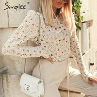 Simplee Elegant long sleeve lace blouse women Hollow out embroidery solid tops