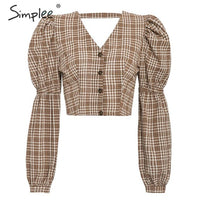 shirt women blouse Sexy backless lace up female top shirt Autumn puff sleeve oversize