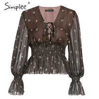 Simplee Vintage print women blouse Ethnic lace up lantern sleeve brown top shirts