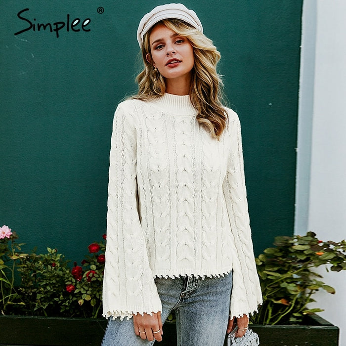 Simplee White knitted sweater women Turtle neck flare sleeve tassel ladies