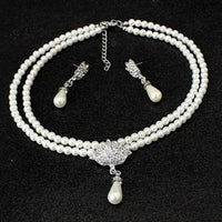 Simulated Pearl Wedding Bridal 2-Piece Jewelry Set Classic Clear High Quality Crystal Charm Gift Silver Plated White Pearls Set