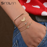 Sindlan 4PCs Gothic Gold Crystal Cross Moon Bracelets for Women Boho Arrow Bangles Bracelets Set Fashion Wrist Chain Jewelry