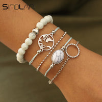 Sindlan 5PCs White Natural Stone Beads Bracelets for Women Vintage Silver Map Chain Bracelets Set Bohemian Female Wrist Jewelry
