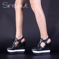 Sinsaut 2018 Newest Women Shoes Summer Sandals Super High Wedge Sandals Women Slingback  Sandals Black Yellow Party Casual