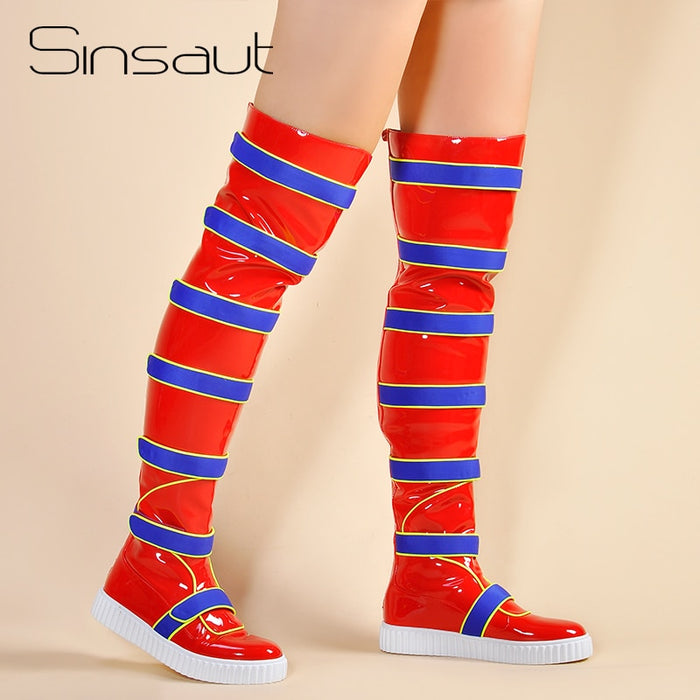 Sinsaut Shoes Women Flat Boots for Women Thick Soled Sneakers Over the Knee Boots Winter Warm Snow Boots Red
