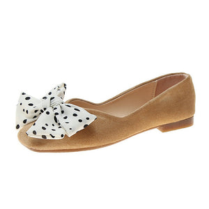 Size 35-40 2019 Latest Summer Ladies Flats Women's Square Toes Low Heels Butterfly-knot Polka Dot Shoes Woman Daily Dress Shoes
