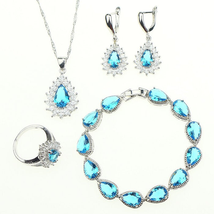 Sky Blue Cubic Zirconia Crystal Jewelery For Women 925 Sterling Silver Jewelry Sets Bracelets/Earrings/Ring/Pendant/Necklace