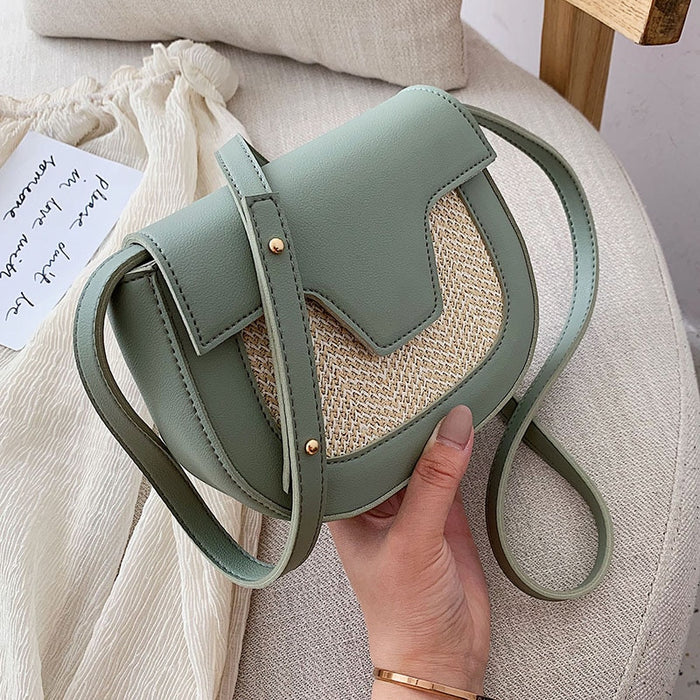 Small Contrast Color Leather Crossbody Bags For Women 2019 Straw Design Summer Shoulder Messenger Bag Lady Quality Handbags