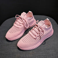 Sneakers Women Breathable Air Mesh Pink Green Platform Shoes Ladies Summer Casual Knitting Flats Shoes Chunky Platform