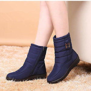 Snow boots women 2019 fashion solid casual shoes woman winter ankle boots women shoes warm round toe zipper shoes women boots
