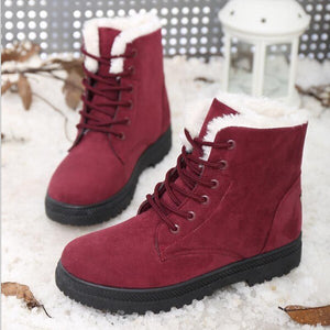 Snow women boots 2019 new fashion warm flock round toe winter boots women shoes solid lace-up breathable ankle boots shoes woman
