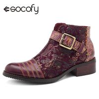 Socofy Retro Bohemian Boots Women Shoes Woman Spring Autumn