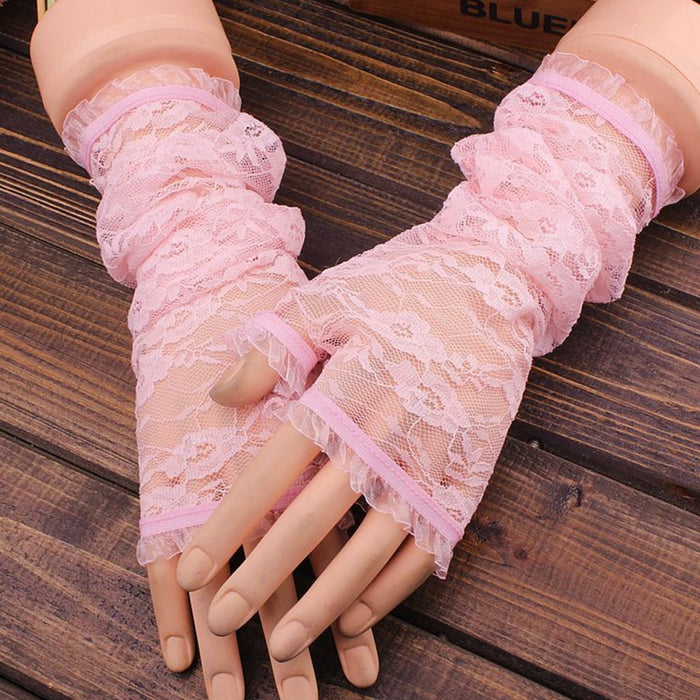 Solid Color New Women Fingerless Embroidery Lace  Elbow Length Mittens