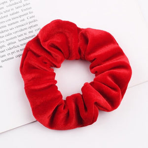 Solid Color Velvet Scrunchie Women Lady Girls Elastic Hair