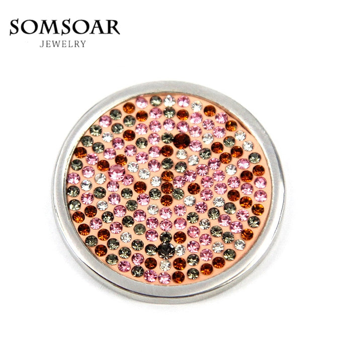 Somsoar Jewelry 33MM Champagne Crystal Coin Fit 35MM My Coin Holder Frame Pendant Necklace 10pcs/lot