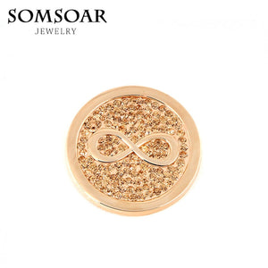 Somsoar Jewelry 33MM Infinity Disc Coin Fit 35MM My Coin Holder Frame Pendant Necklace 5pcs/lot