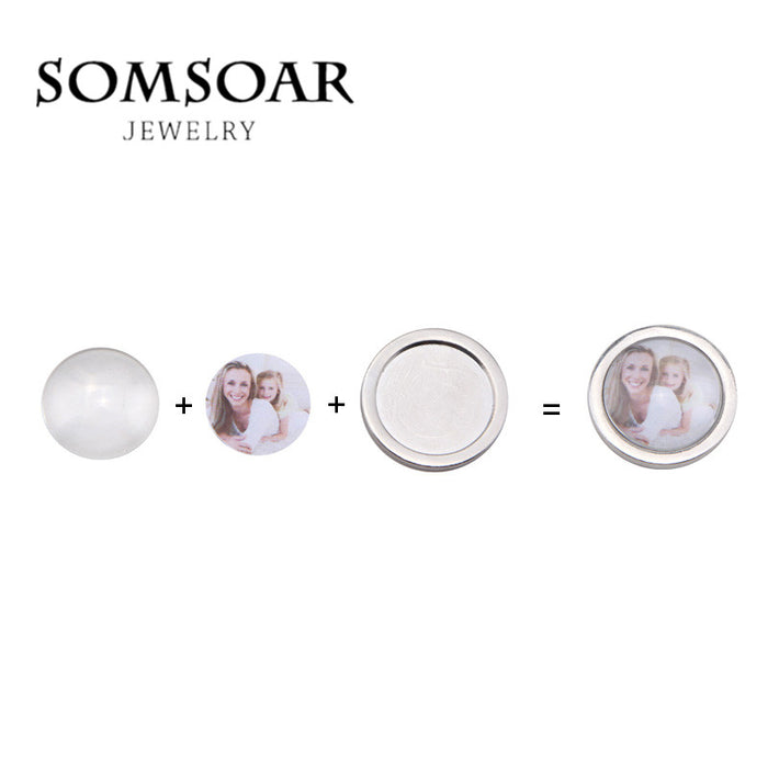 Somsoar Jewelry 33mm Silver Round Blank My Coin Base can DIY Family children Kids baby Photo fit My Coin Holder Frame Pendant