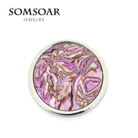 Somsoar Jewelry Deluxe 33MM Purple Mosaic Shell Coin Disc Fit For 35MM My Coin Holder Frame Necklace Pendant 10pcs/lot