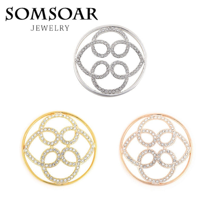 Somsoar Jewelry Hot Selling 3D Flower Coin Disc fit Stainless Steel Thin Coin Holder Frame Pendant necklace for women 10pcs/lot