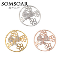 Somsoar jewelry 33MM 3D Butterfly with Rhinestone Crystal Coin Fit 35MM My Coin Holder Pendant for necklace jewelry 10pcs/lot