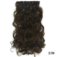 Soowee 7pcs/set 24'' Long Wavy Synthetic Hair Blonde Brown Clip In Hair Extension Full Head Hair Piece for Women