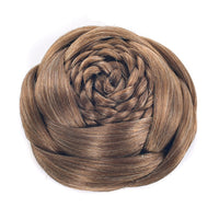 Soowee Brown Black Braided Clip In Fake Hair Bun Synthetic Hair Chignon Fast Bun Donut Roller Hairpieces for Women