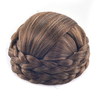 Soowee Brown High Temperature Fiber Synthetic Hairpieces Accessories Braided Chignon Hair Bun Donut Roller Headwear